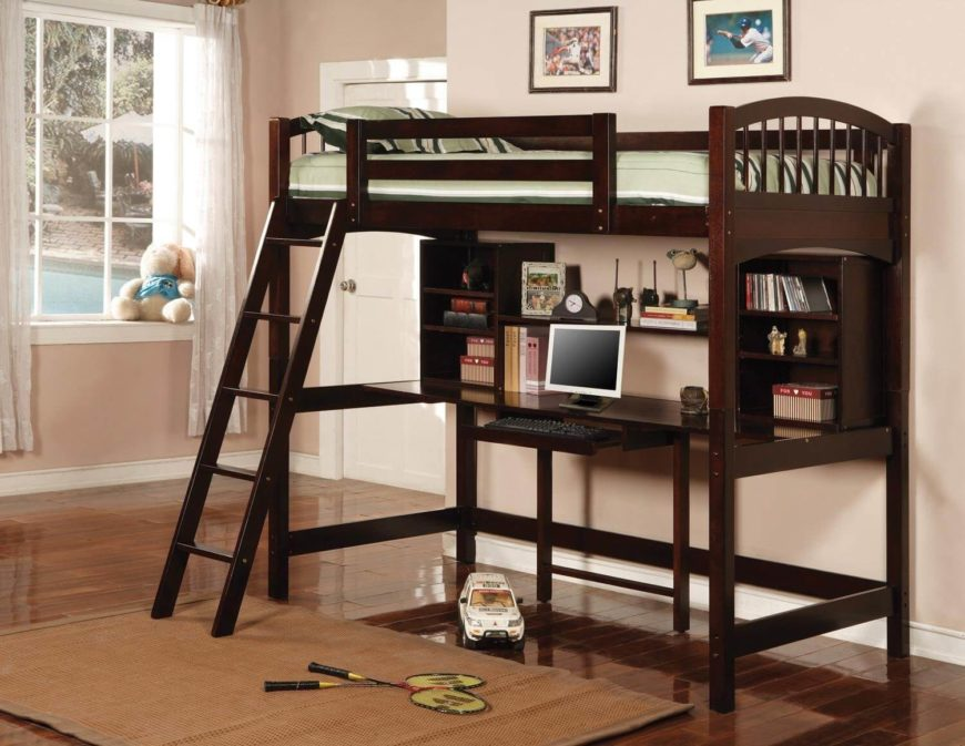 This bed is actually a loft bed style, with single mattress on top and fully featured desk below. Rich dark stained wood and abundant shelving make it a perfect desk and space saver.