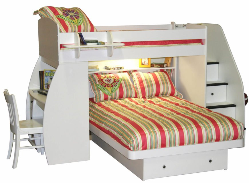 This utterly unique bunk bed with desk is framed in white painted wood, and equipped with storage-embedded stairs and a fully featured desk at left. An extra shelf hugs the upper bed frame for bedtime book storage.