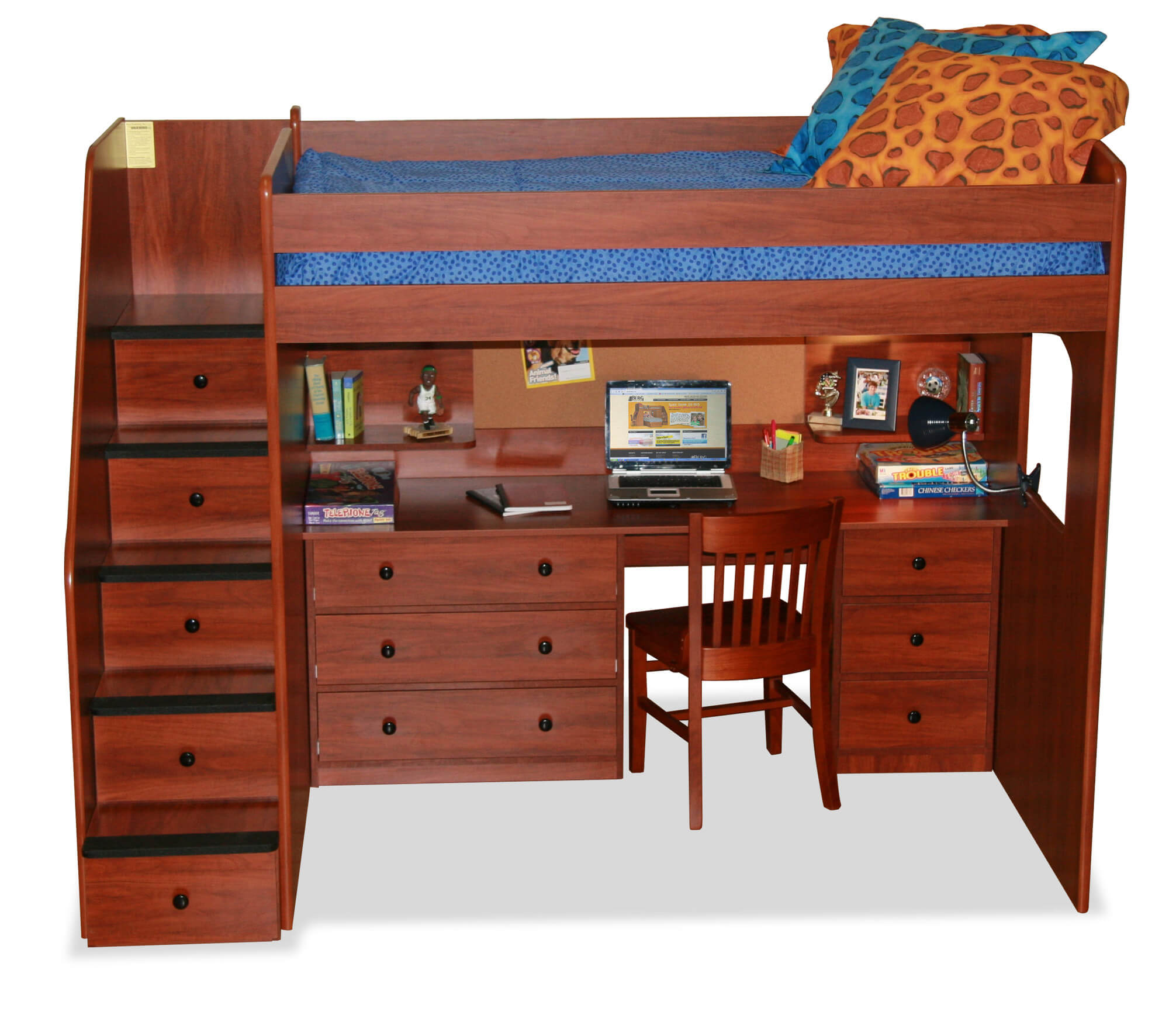 This rich toned wood bed features a lavish desk below the bed, with drawer-equipped stairs leading to the sleeping quarters. The desk itself features numerous drawers and above-surface shelving.