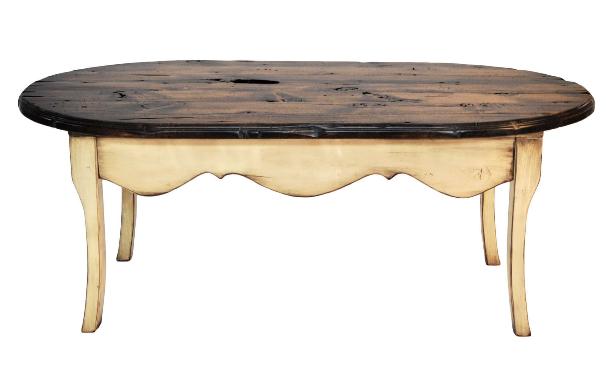 This truly unique table features a mixture of light and dark stained rustic wood. The darker surface is comprised of knotty, aged planks while the legs feature a burnt-edge stain.