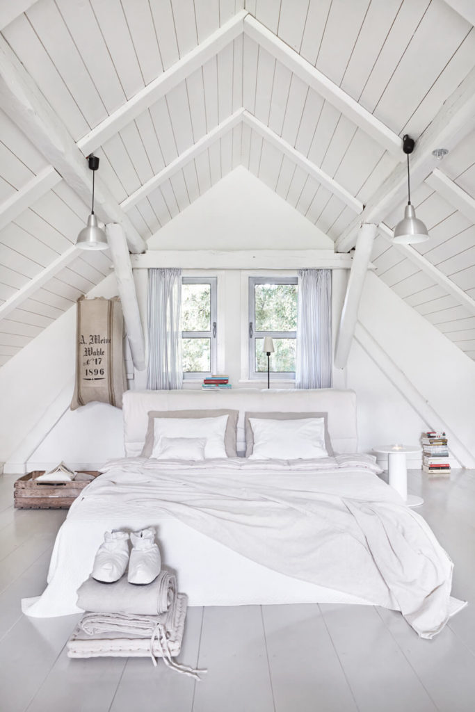 Upstairs, the loft holds the primary bedroom at center, beneath the vaulted ceiling.
