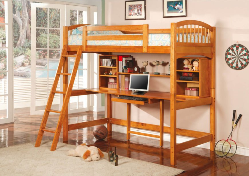 Here's another rich wood loft bed, featuring an array of shelving options above the centrally framed desk. Slide-out keyboard drawer helps conserve desktop space.
