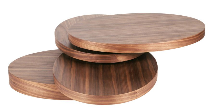 The most strikingly original design on our list, this coffee table is built into a series of rotating oval discs, centered on a central column. The multiple surfaces can be aligned for a solid look, or rotated into any direction desired.