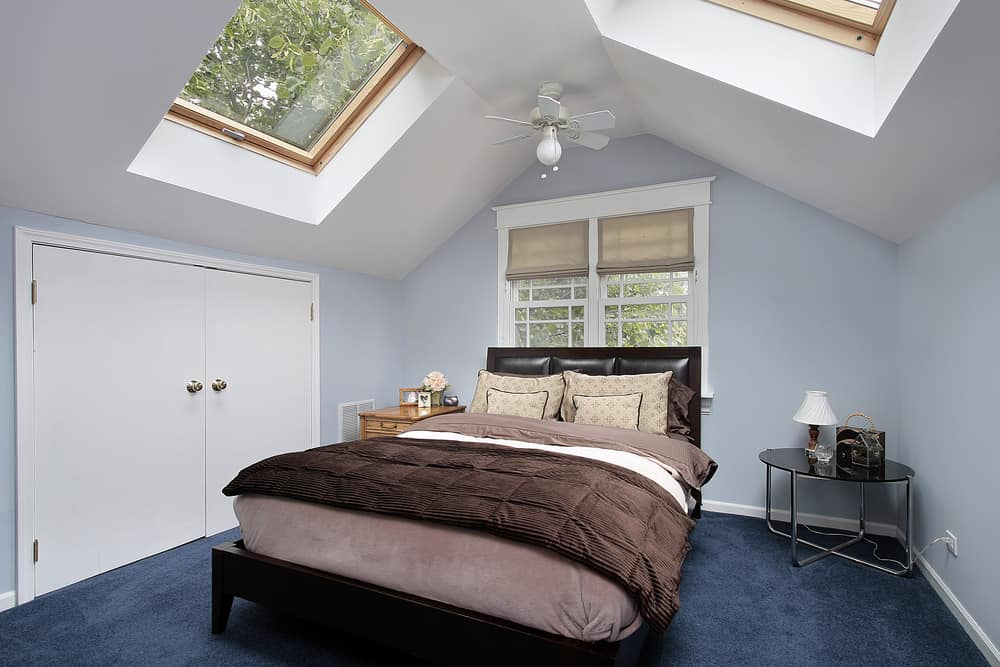 Blue attic bedroom with skylights set in white ceiling. Includes large double door closet.