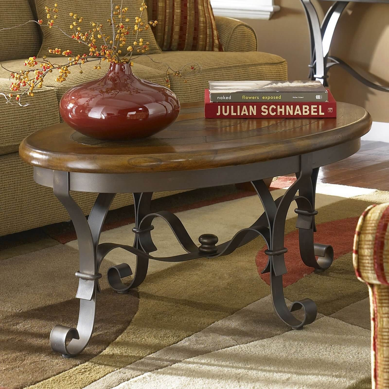 Here's another rich wood top coffee table with a metal frame. The thin construction keeps the appearance light and airy, despite the thick, patterned wood surface.
