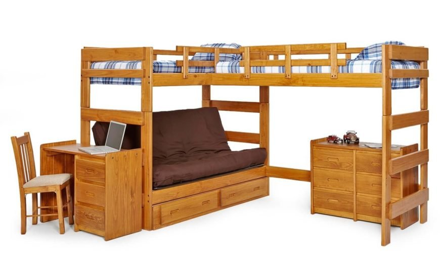 This sprawling piece of furniture sports two upper level beds in an L-shaped array, over a set that includes a futon, dresser, and computer desk.