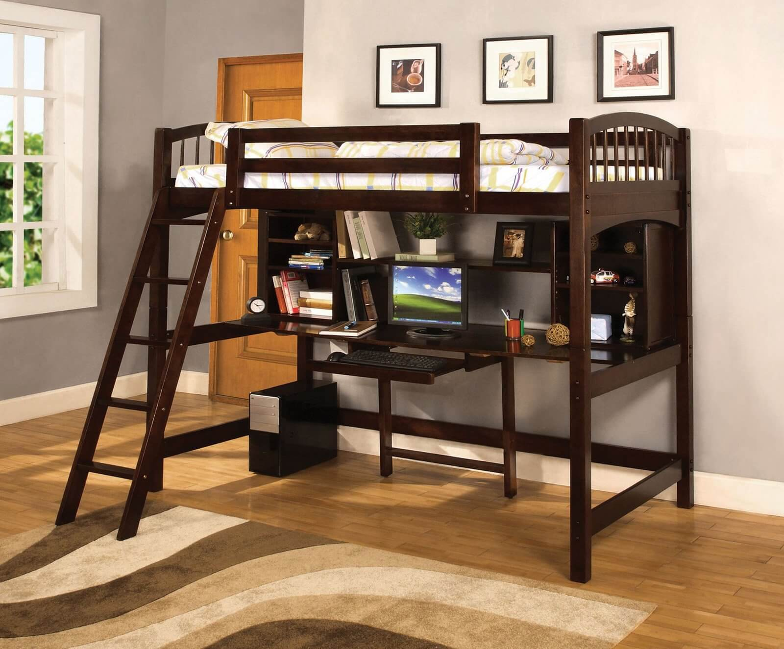 Here's another bed with rich dark stained wood construction. The desk component is fully equipped with shelving and a slide-out keyboard drawer, providing anything a child could need for work or play.