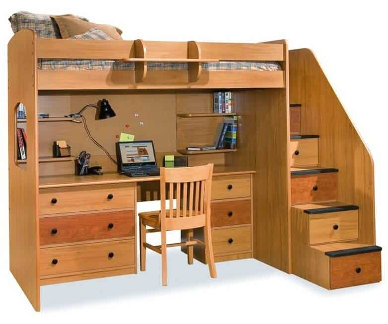 This light natural wood loft bed features a full set of stairs with drawers built in, plus a full size desk below the top bunk. With plentiful drawers and shelving, the desk adds immense functionality.