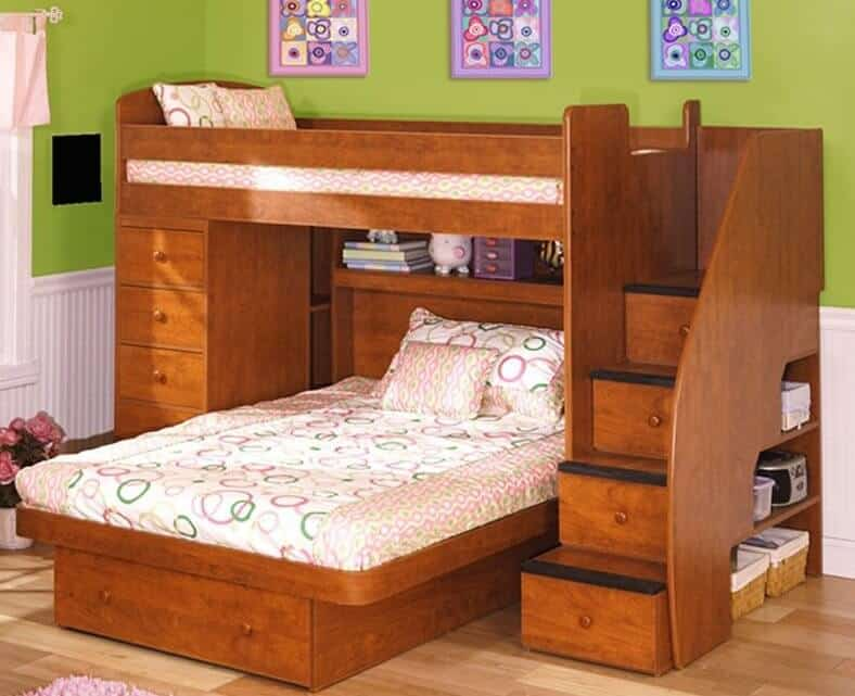 Here we have another bunk bed frame with perpendicularly mounted lower bed, featuring a large set of stairs on the right side with built-in drawers, plus pockets of storage on the external side. A full dresser is built into the other side of the frame.