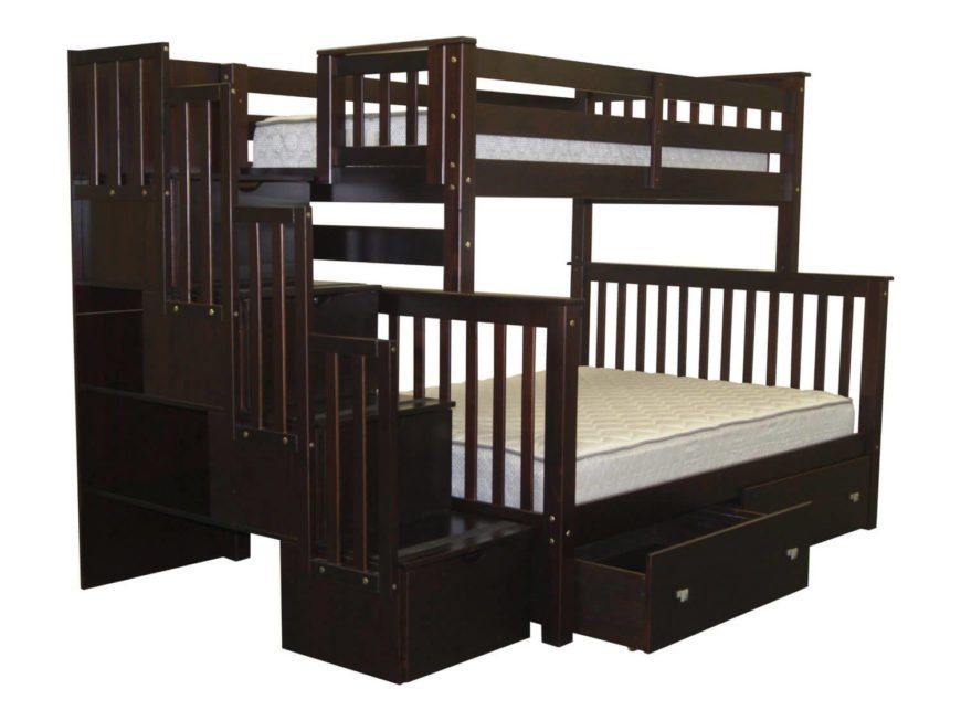 This rich coffee hued wood bunk bed features a larger lower bed, as well as steps with large bin-style drawers built in. Thin vertical planks surround the frame for a visually interesting look.