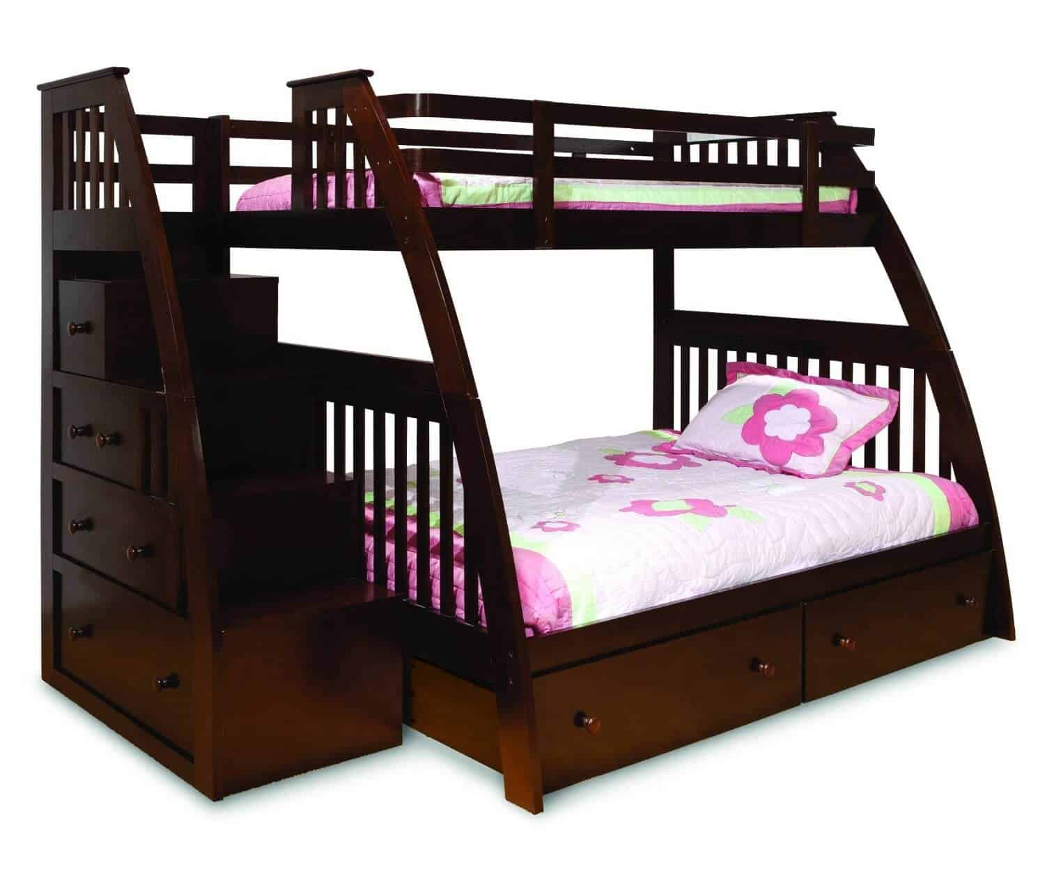 This espresso-toned modern style bunk bed features curved supports and perpendicular drawers, facing outward, built into the stairs. A twin bed sits on top, with a full size mattress below.