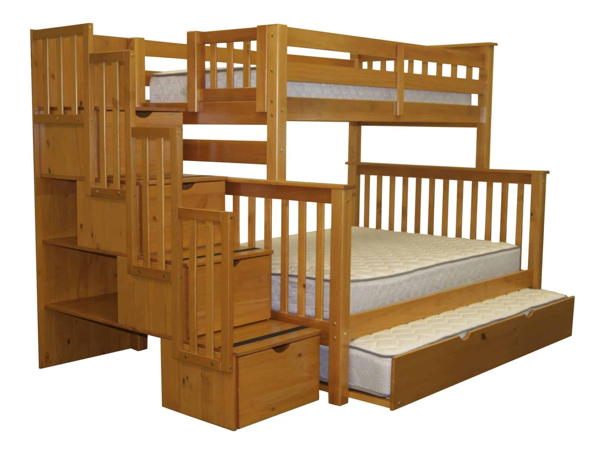 This rustic-styled natural wood bunk bed frame sports a third, trundle style bed beneath the lower bunk, in addition to large storage drawers within the stairs. Extra shelving is available behind the drawers, on the side of the unit.