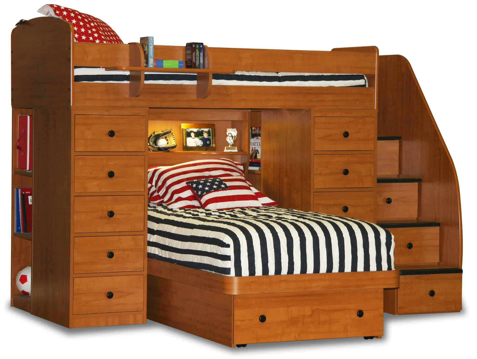 With this model, we see a variation on the previous bed, with even more storage tucked into the framework. A single large drawer emerges from the lower, movable bed frame, while intricate shelving is built into the sides and center of the frame.