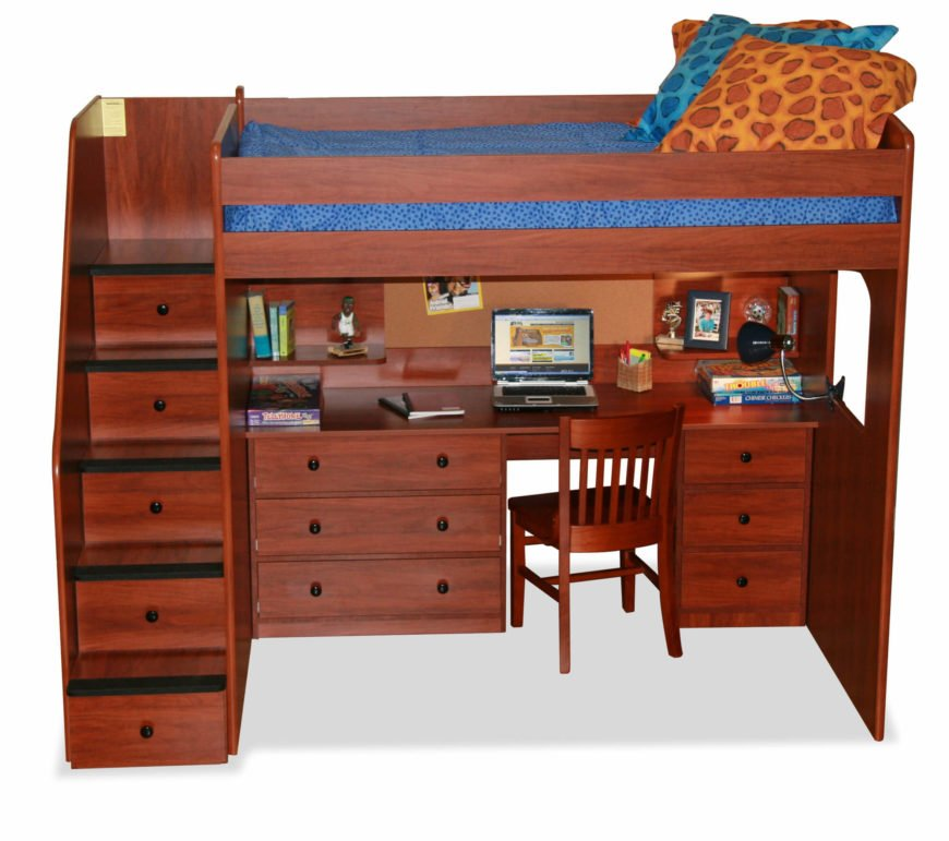 Rich red wood tones inform this loft bed with a full size desk built in. Drawers on each side of the desk are complemented by ones built into the staircase at left.