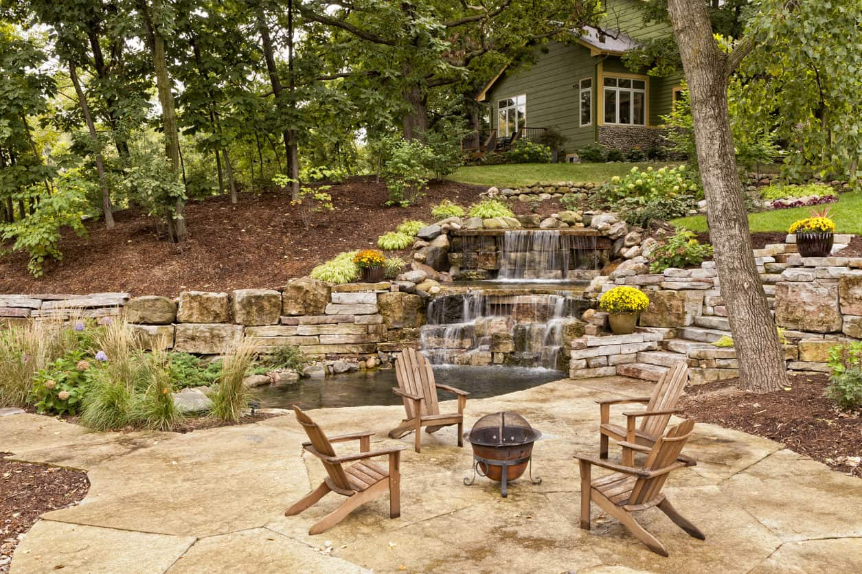 Incredible backyard pond with landscaping and waterfall next to patio