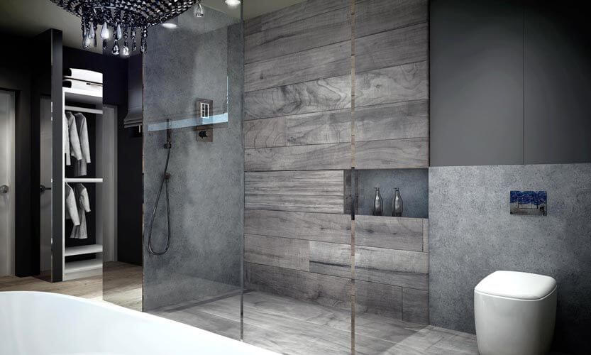 The shower is encased in glass and features gray tile and faux wood tile. Beyond the shower enclosure is the walk-in closet.