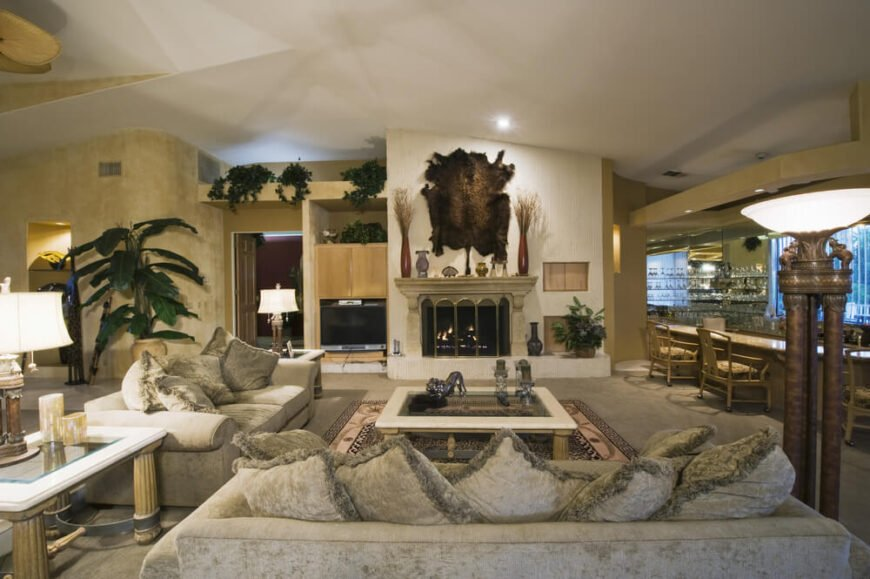 Luxurious living room in earth tones.