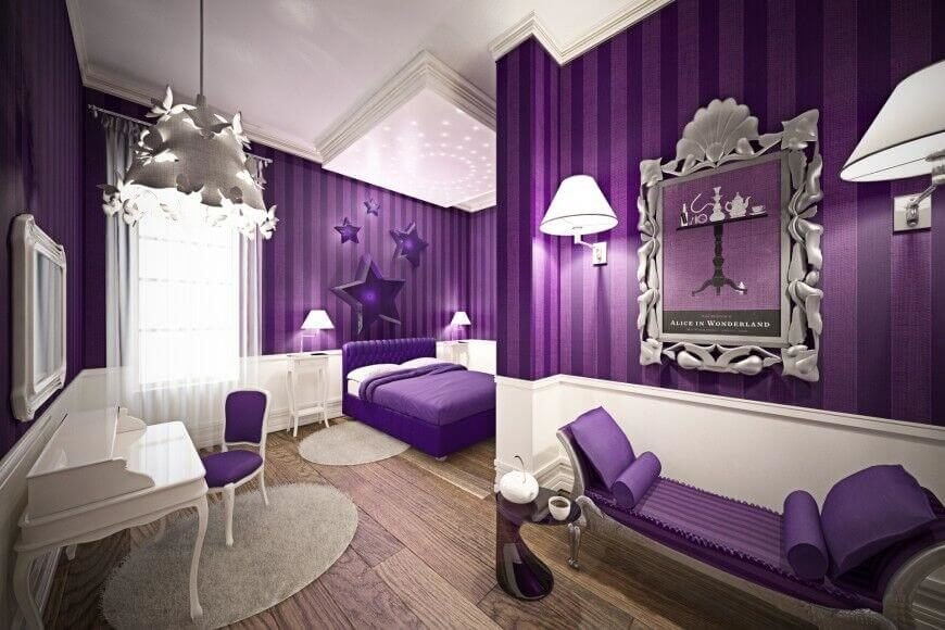 This bedroom is full of a deep royal purple with accents of sheer and polished whites. Even the fabric headboard is a beautiful purple color that stands against the white sheets and pillow cases.