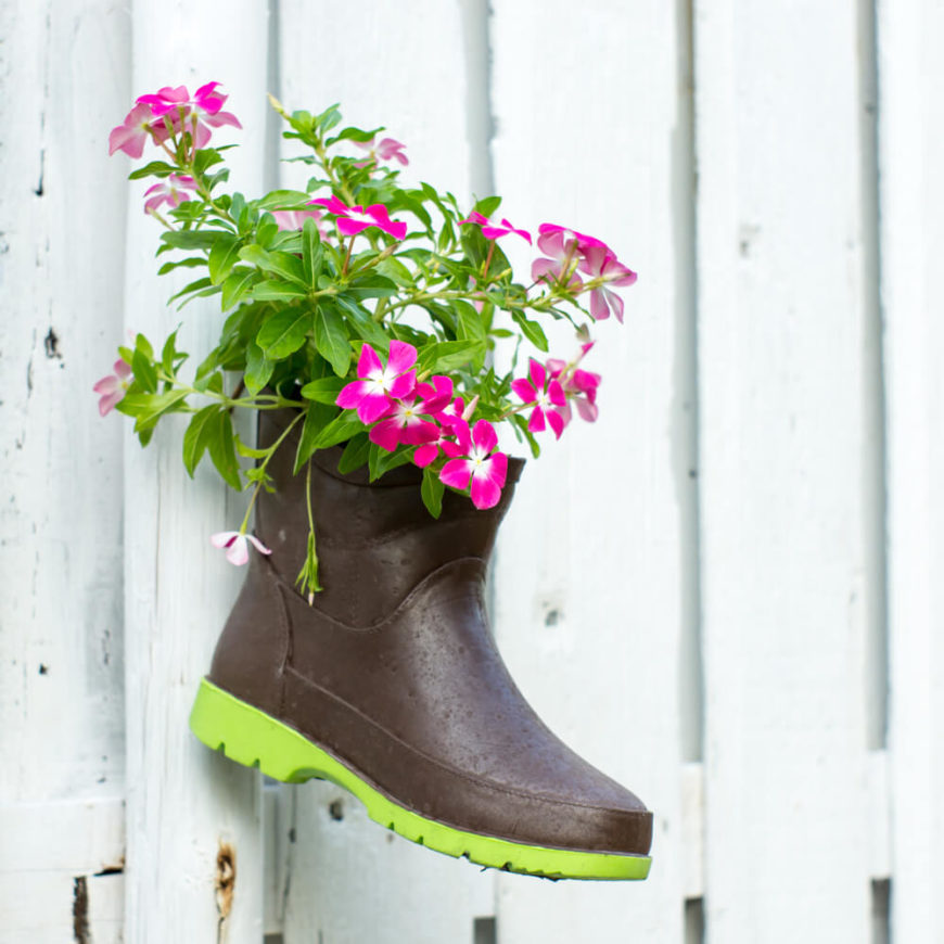 What better way to recycle an old garden boot than to turn it into a planter? Hanging it on a fence adds a cute point of interest to your garden.