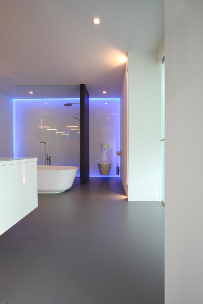 Gorgeous primary bathroom features a walk-in shower and toilet area accented with neon lights and divided by a dark wood plank wall.