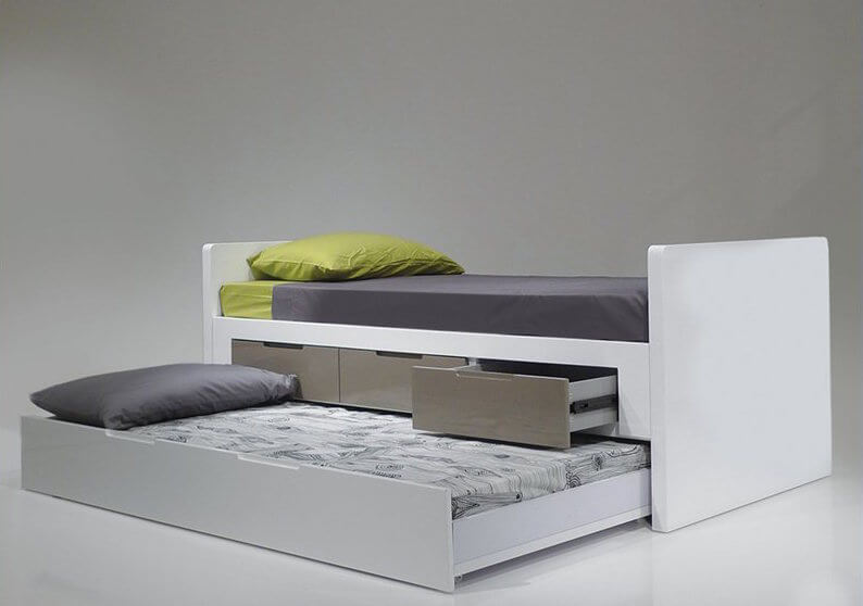 This raised bed is perfect for sleep-overs, and includes three stainless-steel drawers for additional under-the-bed storage. Think pillows or blankets.