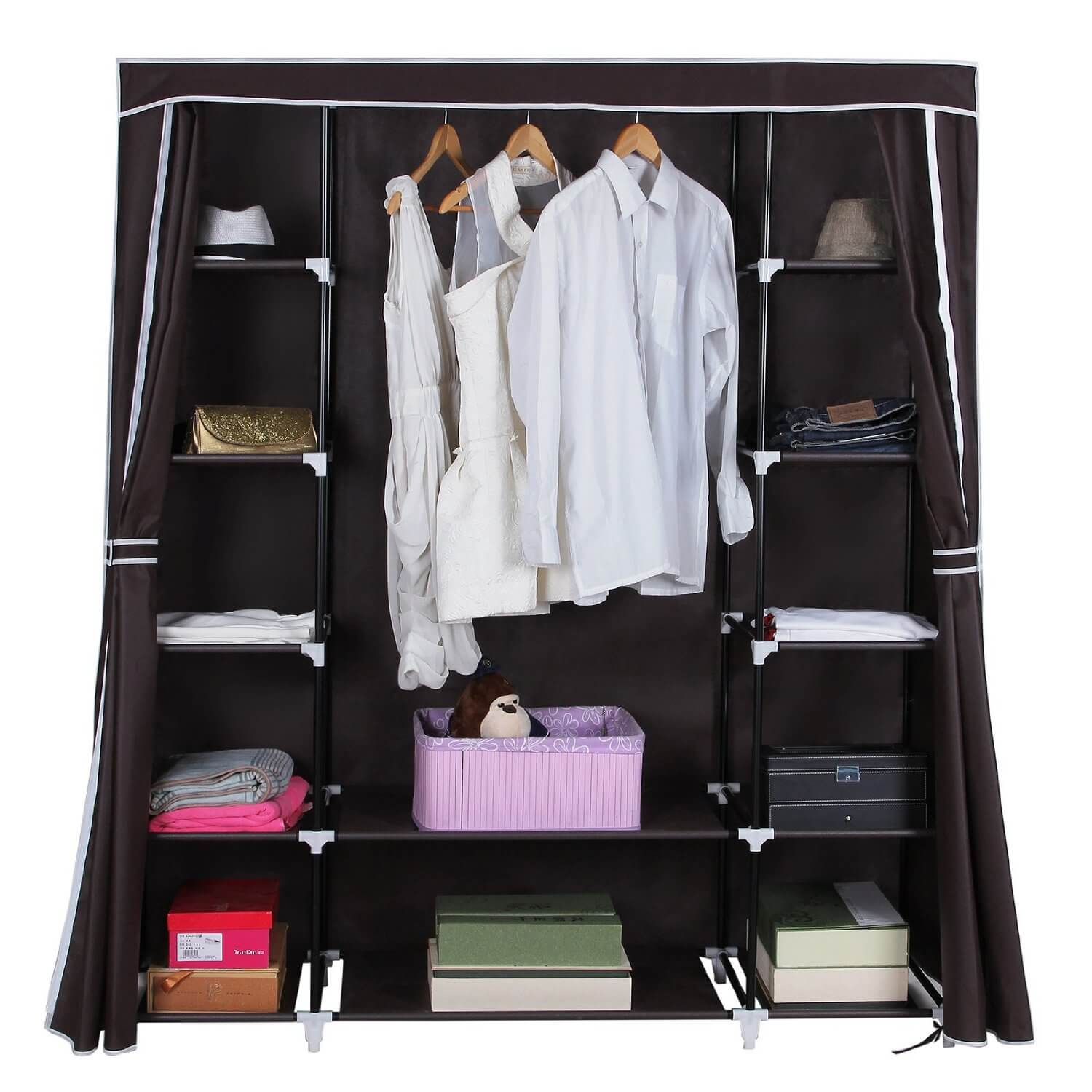 This portable and collapsible storage solution can be a wardrobe on its own, or serve as a closet storage solution.