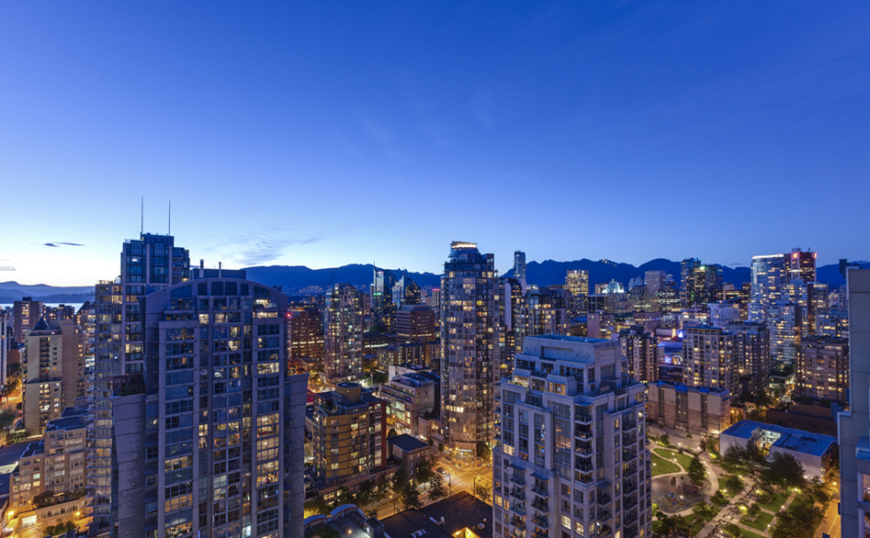 One of the 360 degree views around the penthouse, showing off the city of Vancouver and the mountains beyond.