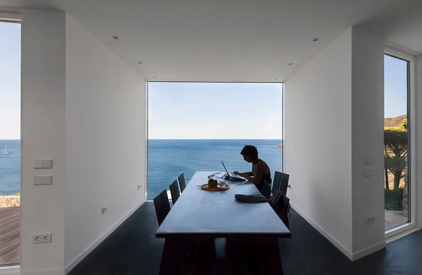 A straight-on view of the dining room shows just how stark the room would be without the view.