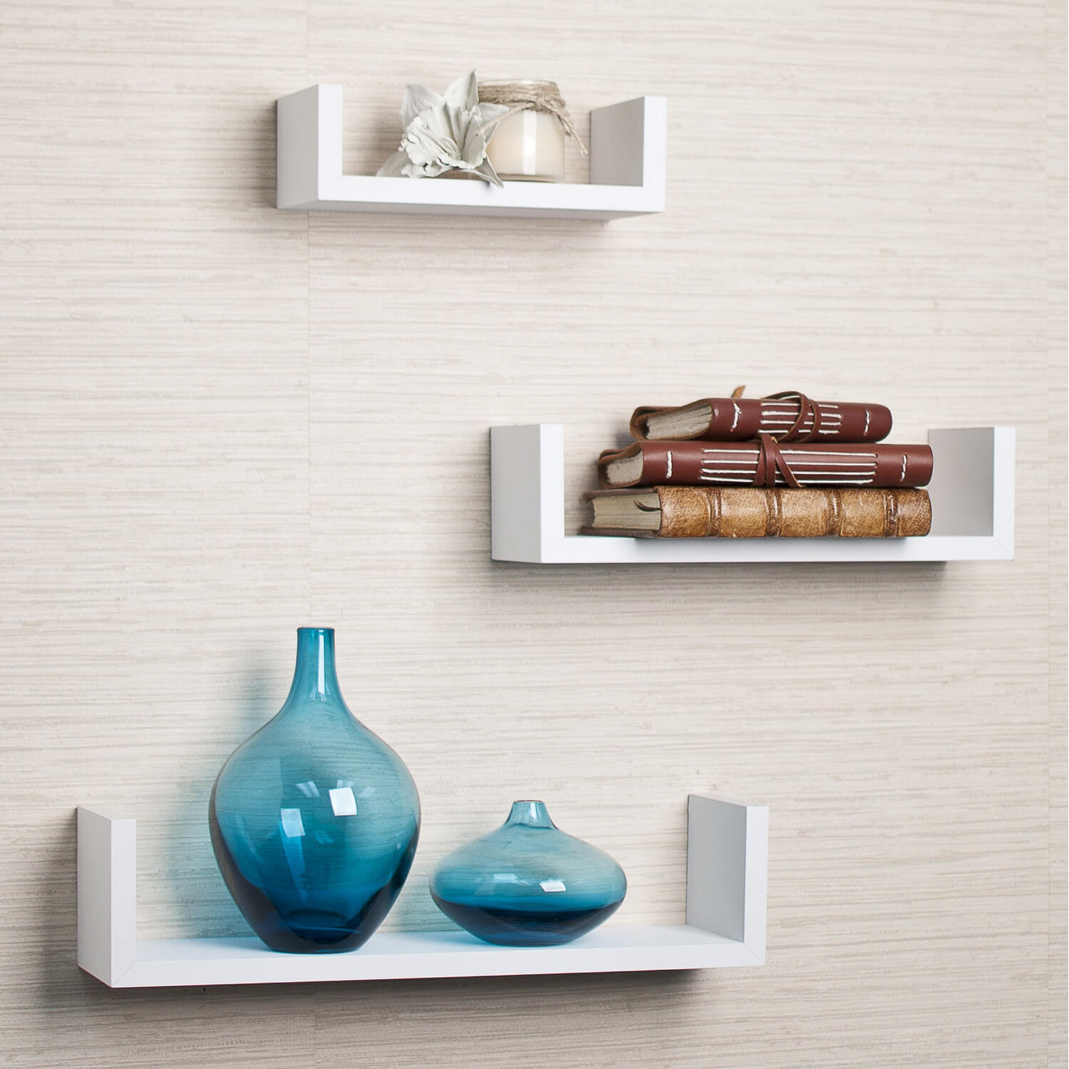 These smaller shelves would look great on the wall behind a free-standing bathtub. You could use them to store your shampoo, conditioner, and soaps.