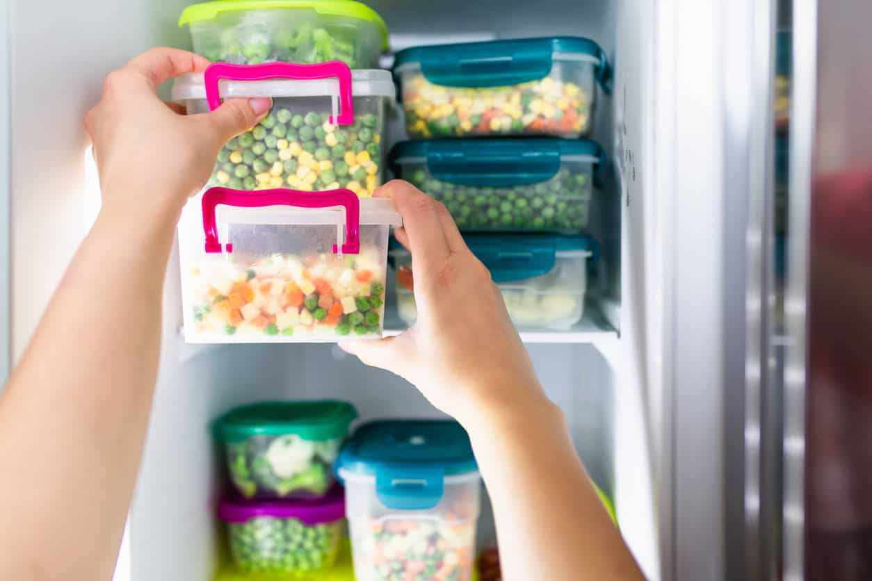 Food storage containers in the freezer