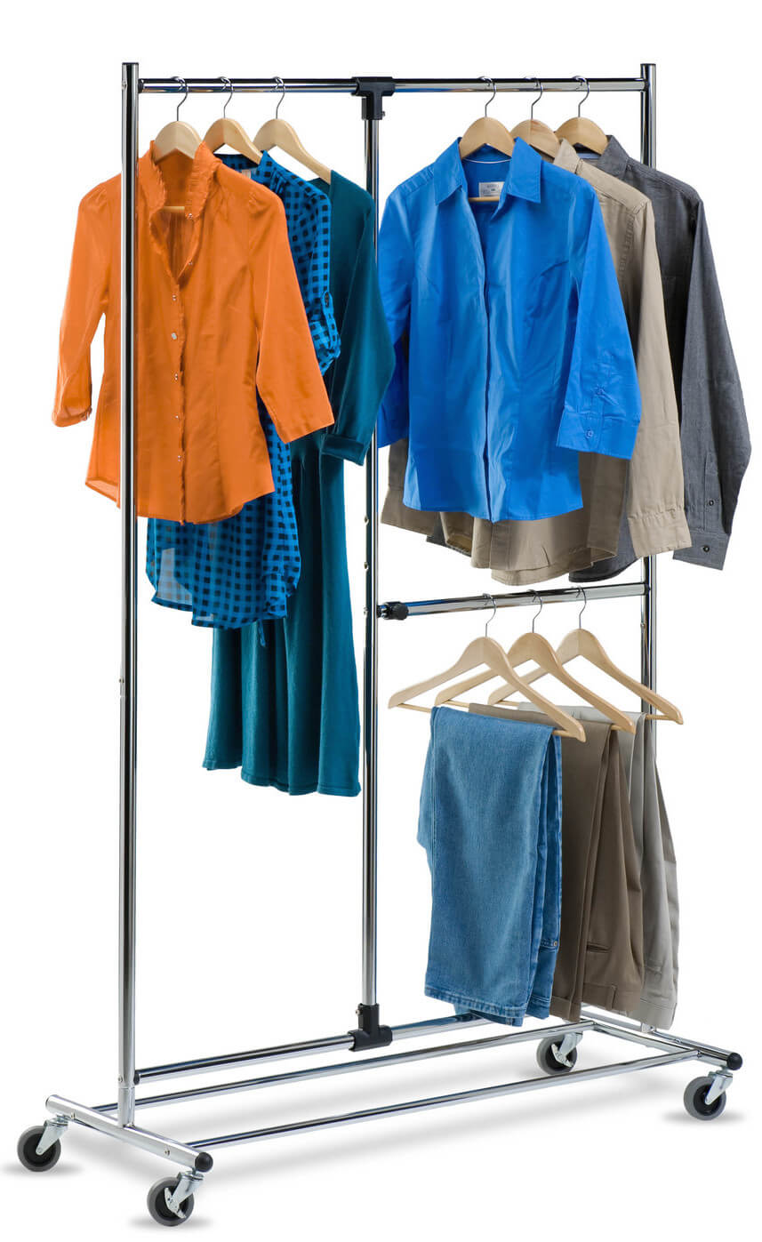 This rolling garment rack has two shorter racks for pants and shirts, along with a taller rack for dresses or other long garments.