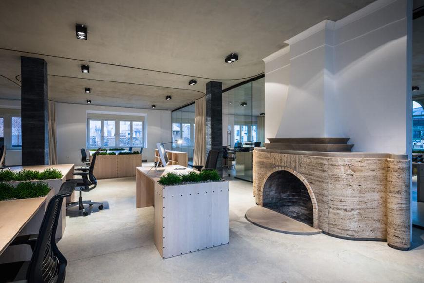 Modern dynamic open-plan office space.