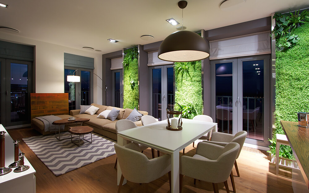 Open-concept living area with stunning living walls.