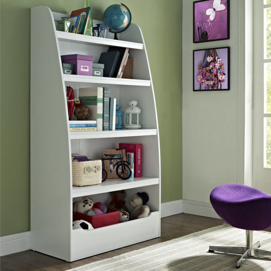 A deep cubby on the lowest shelf is great storage for toys as well, making this an optimal bookcase for a child's room.