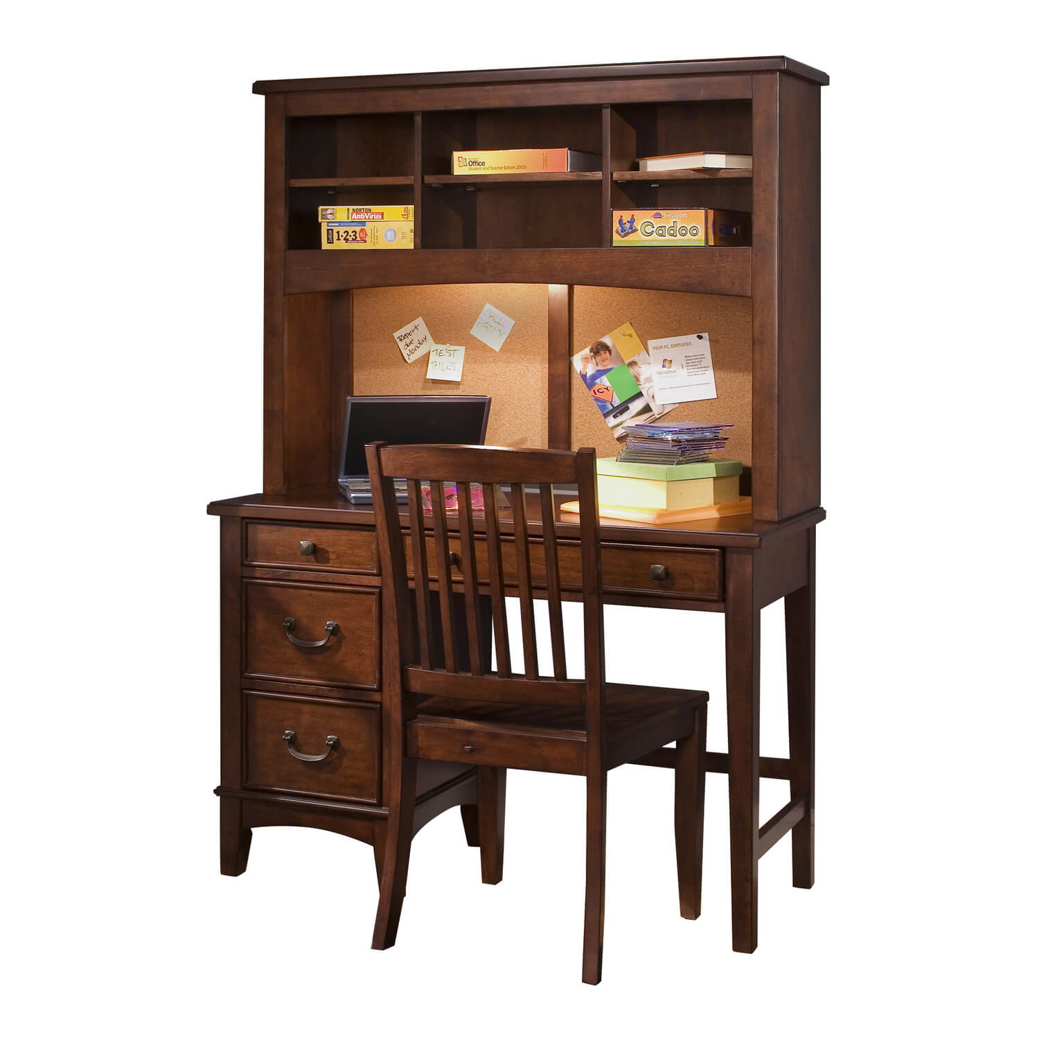 This sturdy wooden bookcase desk has plenty of drawers to store schoolwork and shelves above to store books.