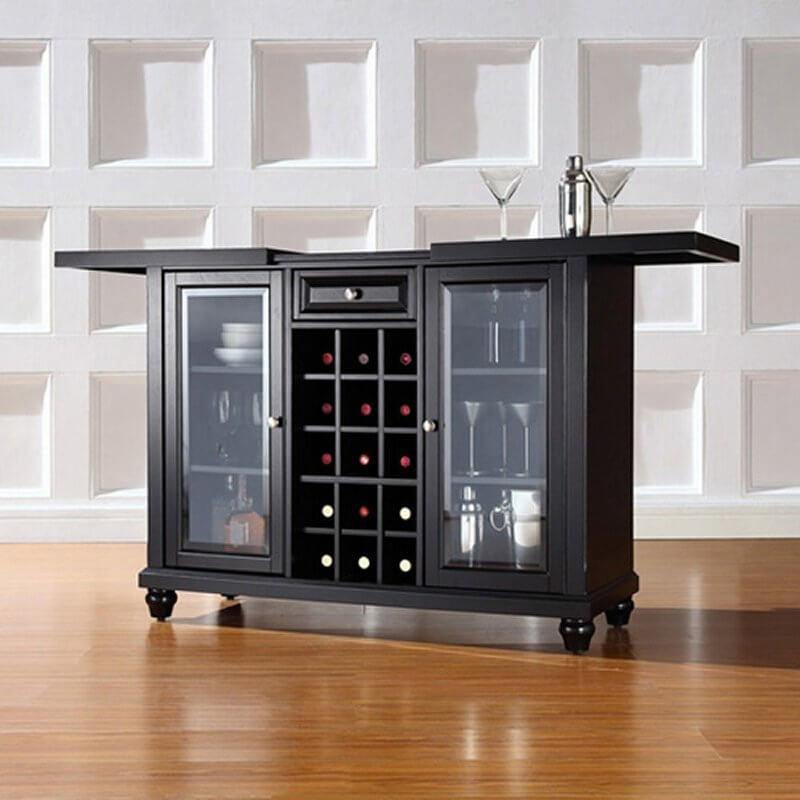 Glass doors allow you to display what's inside. It also includes an extendable counter and a wine rack.