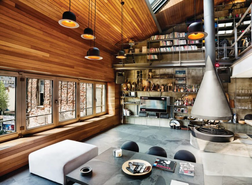 Vast open-plan design home incorporates natural wood to great effect.