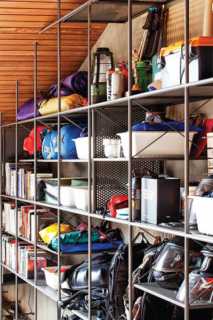 Moving along to the center of the grid, we see more general storage items, including motorcycling gear, camping supplies, and other outdoors oriented equipment.