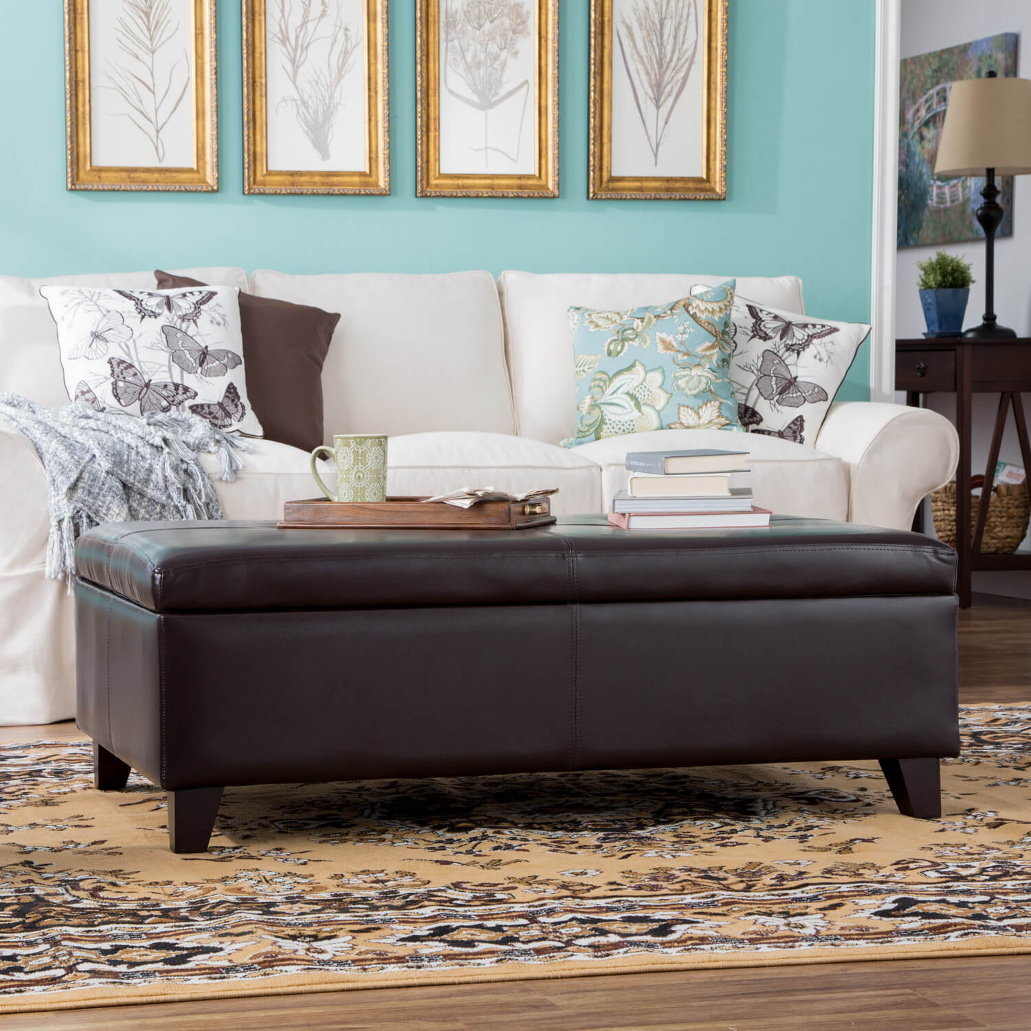 Ottomans are most common in living rooms, where you can use them to store blankets or pillows.