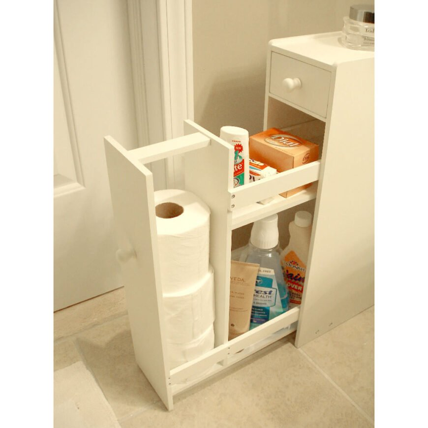 This cabinet fits in a narrow area and has spots for both tall and short cosmetics, along with extra toilet paper rolls.