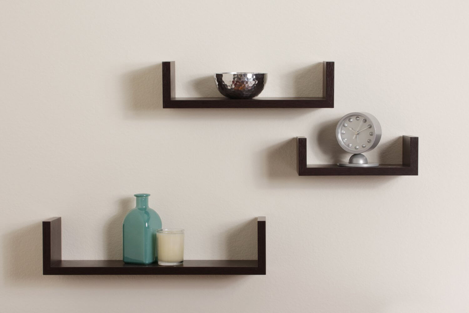 These simple shelves don't take up too much room, and would look great with a variety of styles.