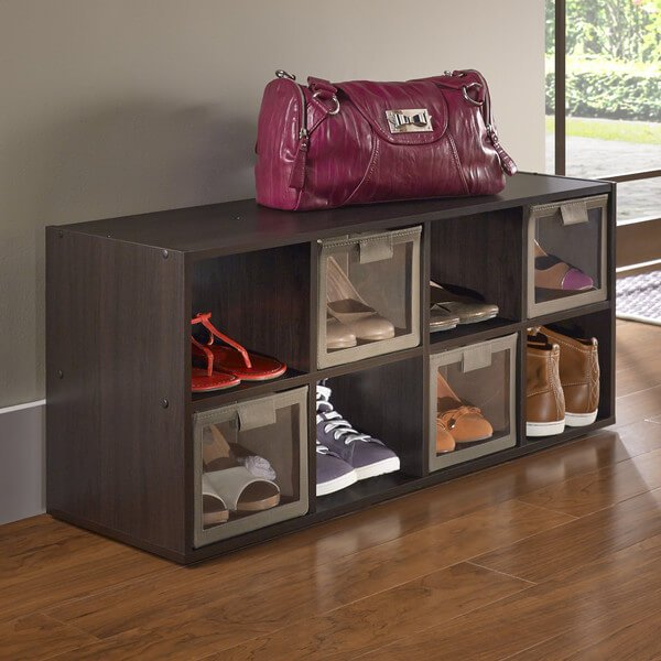These simple cubbies will fit nicely beneath a clothing rack. Detachable doors keep your shoes from falling out, if you desire.