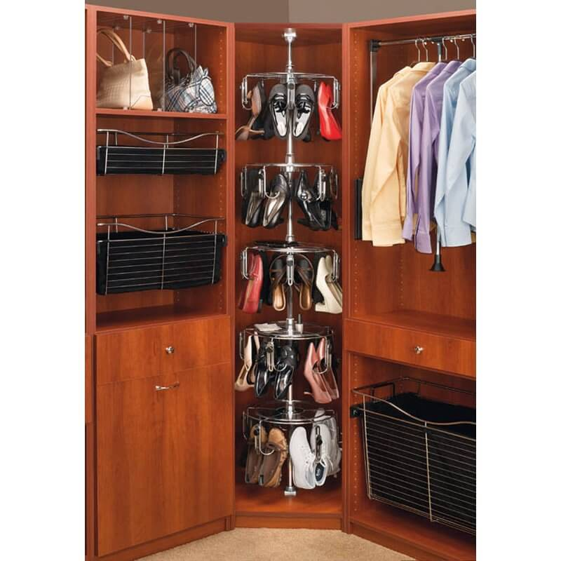 If you have a full-closet system, you can add a shoe carousel like this one. Hooks hold your shoes in place, and you can spin it to find the shoes you desire.