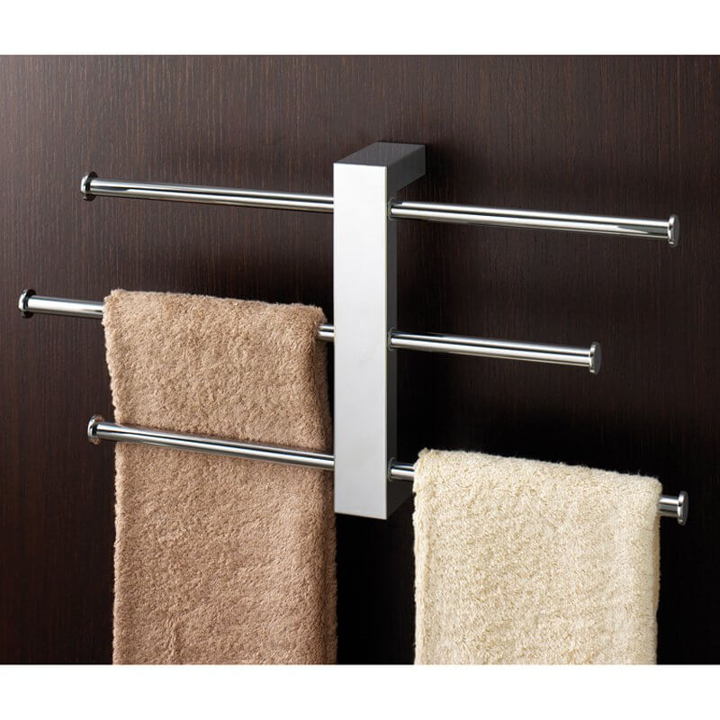 The long bars on either side of this towel rack provide ample space for drying towels, unlike a single long bar.