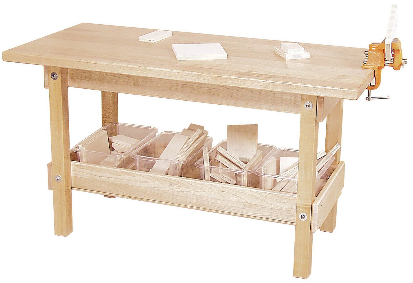 This stable wooden workbench has a large tray on the bottom to store your tools or materials for easy reach.