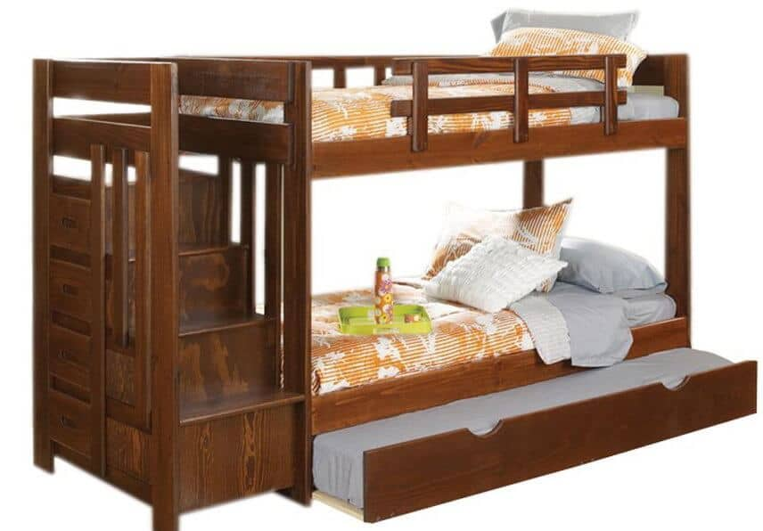 This elegant creation sports an angular, minimalist framework, holding an extra trundle bed below the bottom bunk. A set of stairs lead up to the top bunk and conceal storage.