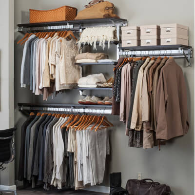 A system like this is built to be all the space you'll ever need in your closet. They're also customizable, to help you get your best fit!