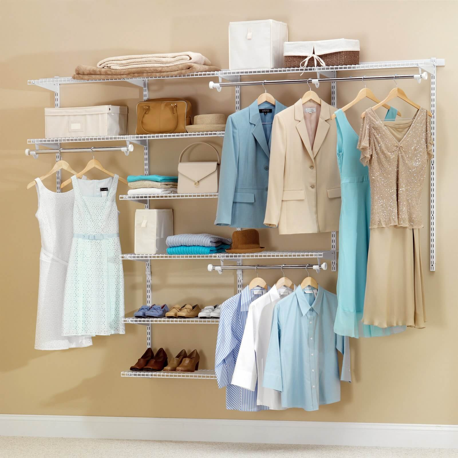 This full closet system has spots for dresses, jackets, shirts, shoes, and bags.