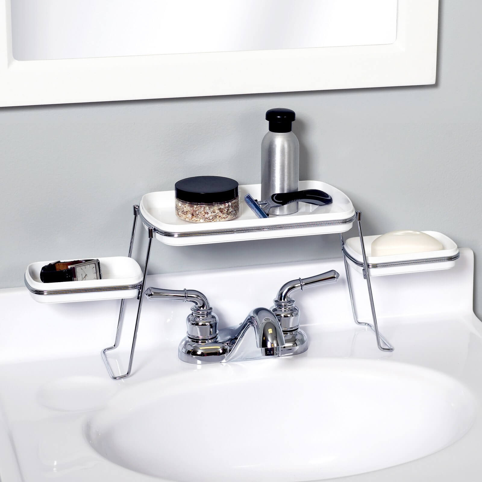 Sitting just above your faucet, this keeps your soaps and other sundries off of your clean countertops, meaning you have to scrub them less.