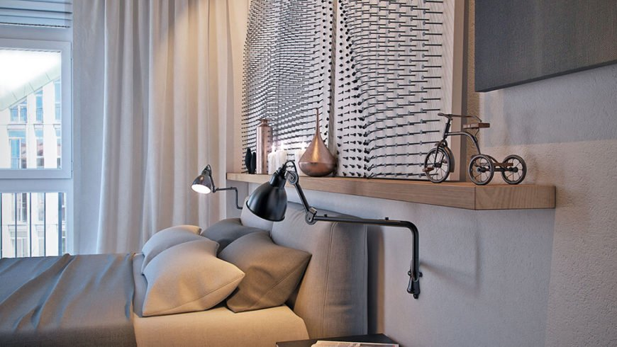 Here the nails that make up the wall art above the bed can be seen. Touches of copper add subtle color to the room.